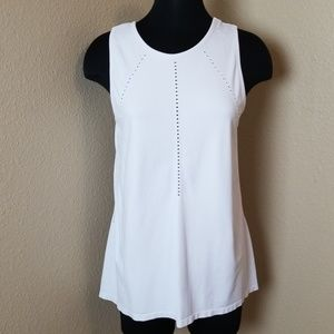 Athleta White Perforated Open Back Tank Top